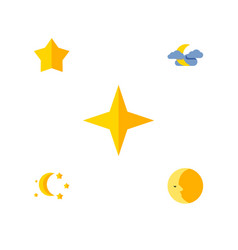 Flat icon midnight set of midnight starlet lunar vector