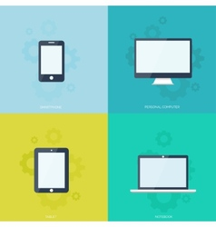 Flat mobile devices set Computer laptop tablet vector image vector image