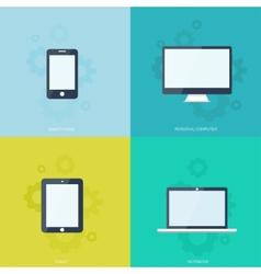 Flat mobile devices set computer laptop tablet vector