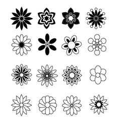 Flower black and white vector image vector image