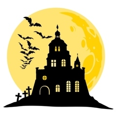 Halloween view of castle moon bats and hill vector