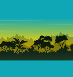 Landscape of forest at morning silhouette vector