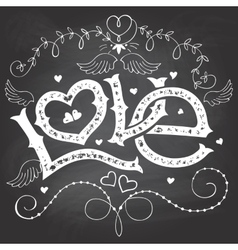 Love hand-lettering for Valentines day on vector image vector image