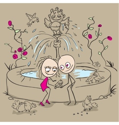 Lovers at the fountain fed birds vector image vector image