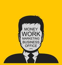 Male profile avatar with business text vector
