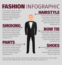 Man in wedding suit fashion infographic vector