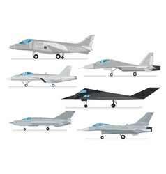 Military jet aircraft isolated set vector