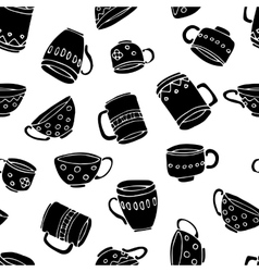 mugs and cups background vector image vector image