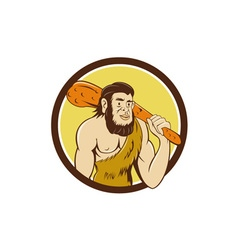 Neanderthal man holding club circle cartoon vector