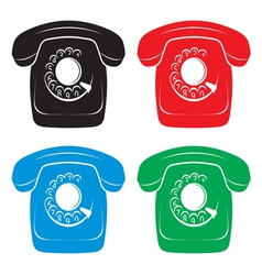 Old phone icons vector