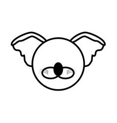 outline koala head animal vector image vector image
