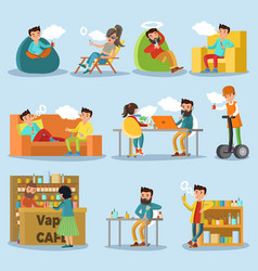 People in vape cafe collection vector