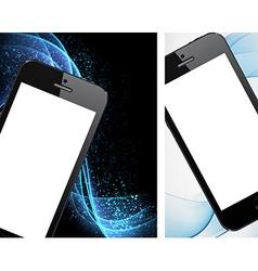 Realistic black smartphone backgrounds vector