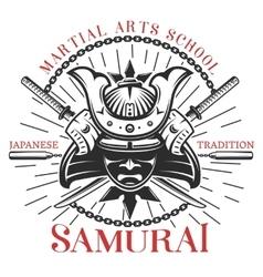 Samurai martial arts print vector