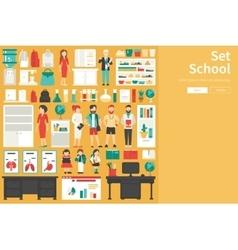 School big collection in flat design concept vector