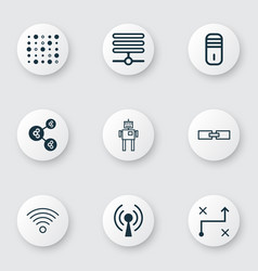 set of 9 machine learning icons includes wireless vector image vector image