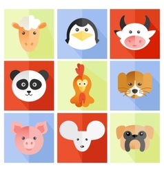 Set of flat animal vector image