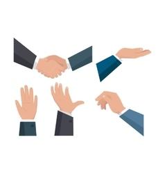Set of Human Hands in Flat Design vector image