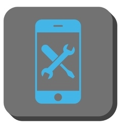 Smartphone tools rounded square button vector