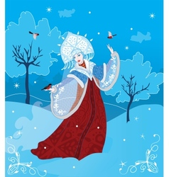 Snow maiden russian style vector