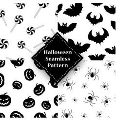 spider pumpkin spider and bat seamless pattern vector image vector image
