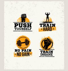 Strong fitness gym workout motivation design vector