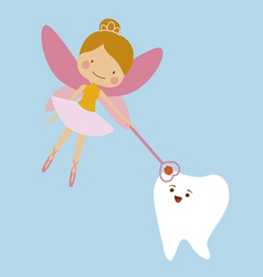 Tooth fairy and tooth mascot vector