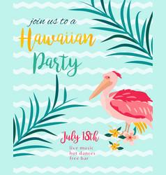 tropical hawaiian poster with pelican vector image vector image