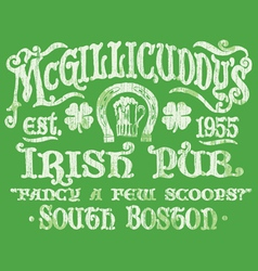 Vintage irish pub sign t-shirt graphic vector