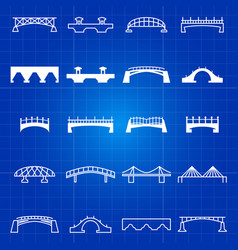 white outline and thin line bridges icons vector image vector image