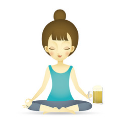 Woman doing yoga beer vector
