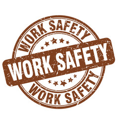 Work safety brown grunge stamp vector