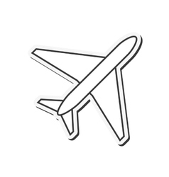 Single airplane icon vector
