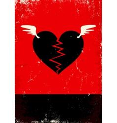 Broken heart with wings vector image
