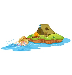 A girl swimming near an island with tent vector image