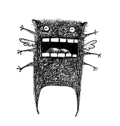Scary black creature monster screaming dreadful vector
