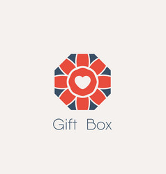 gift box logo isolated on white vector image