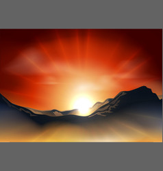 sunrise or sunset over a mountain range vector image