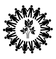 black silhouette teamwork human people circle with vector image