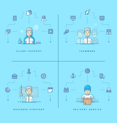 Client support teamwork business strategy vector