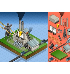 Isometric coal plant in electricity production vector