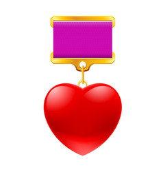 Medal in the shape of heart on white background vector