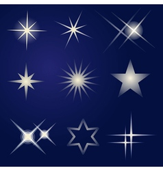 Set of bright stars vector image