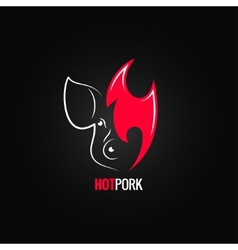 Pork meat fire concept menu design background vector