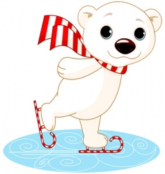 Polar bear on ice skates vector