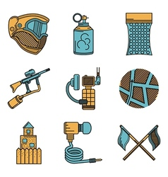 Flat color design icons for paintball vector