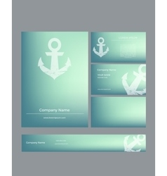Set of business cards in marine style vector