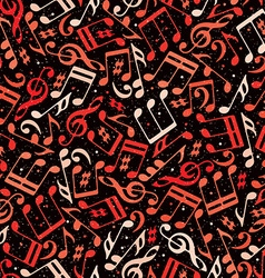 Red musical notes seamless pattern vector