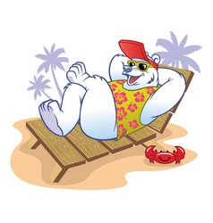 Polar bear cartoon enjoying the holiday vector