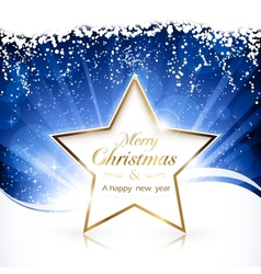 Golden christmas star background vector